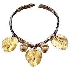 Chunky Cadoro Acorn and Oak Leaf Necklace
