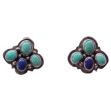 Gorgeous Nakai Sterling Earrings - Turquoise, Lapis - Native American