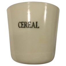 McKee Custard Glass Cereal Canister - No Lid