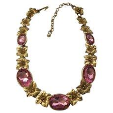 Kunio Matsumoto Pink Lily Necklace Trifari