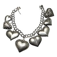 Sterling Puffy Heart Charm Bracelet- 8 Hearts