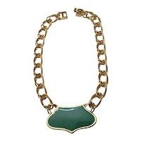 Sea Green Enamel Necklace by Monet