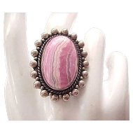 Sterling Ring - Pinkish Stone - Rhodochrosite - Size 7 3/4
