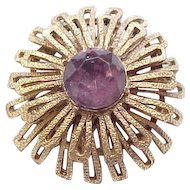 Capri Pin/Pendant with Purple Center Rhinestone