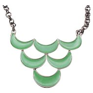Green Enamel Monet Necklace - Tres Chic