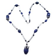 Spectacular Czech Necklace Midnight Blue Beads, Silvertone Metal