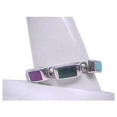 Sterling Silver, Unusual Natural Stone Bracelet - 6 3/4 Inches
