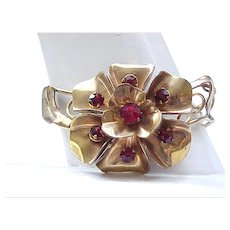 09 - Gold Filled Bracelet - Barclay - Large Floral, Ruby Red Rhinestones