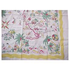 Map of Florida Vintage Tablecloth - Excellent