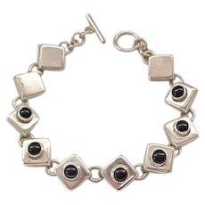 Pretty Sterling and Onyx Bracelet, Earrings