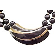 Chic Trifari Black and Goldtone Parure - Necklace, Earrings, Brooch