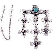 Lovely Sterling Jerusalem Cross Necklace - Taxco