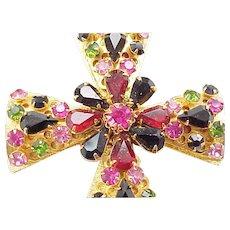 Spectacular Rhinestone Maltese Cross Pin