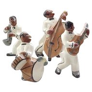 4 Jazz Band Figures West Coast Pottery California - Awesome