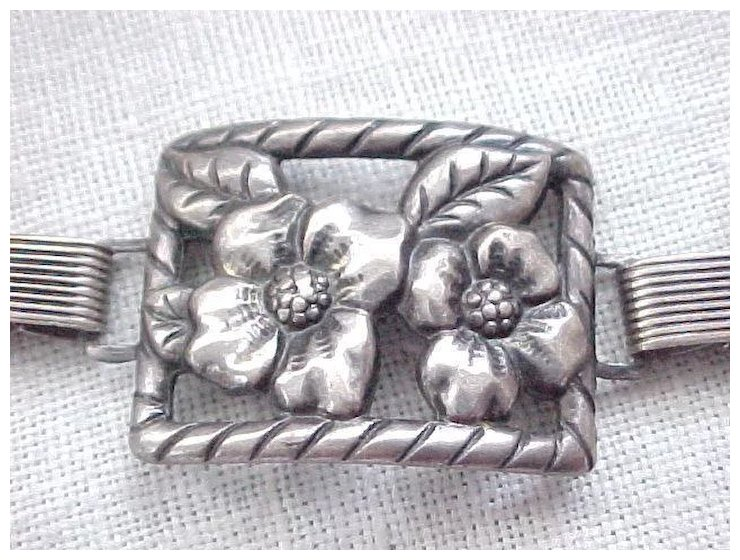 Early Danecraft Sterling Bracelet Picture Frame Panels Felch And