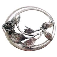 Sterling Silver Danecraft Pin - Circle with Rose