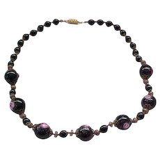 Lovely Vintage Wedding Cake Bead Necklace - Black and Pink