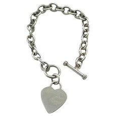 Super Nice Sterling Charm Bracelet with Heart Charm