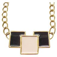 Monet MOD Necklace - Black and Cream Enamel