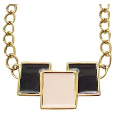 Monet MOD Necklace - Black and Cream Enamel
