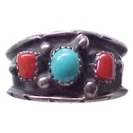 Sterling Silver Native American Ring Turquoise, Coral - Size 13