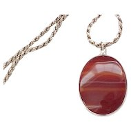 Sterling French Rope Chain with Agate Pendant - Convertible