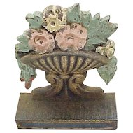 Pair Victorian/Edwardian Book Ends - Floral Urns - Original Paint