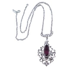 10 - Gorgeous Whiting and Davis Pendant Necklace - Purple Stone
