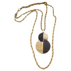 Trifari MOD Pendant Necklace - Double Chain