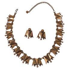 Unique Renoir Copper Necklace, Earrings