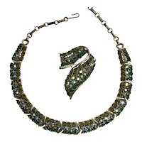 Outstanding Lisner Rhinestone Necklace and Brooch