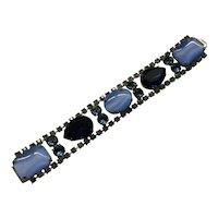 Spectacular Bracelet Faux Moonstones, Rhinestones Blue