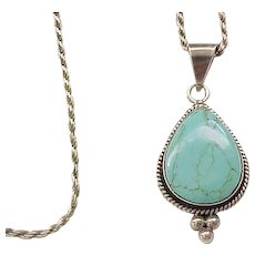 Turquoise, Sterling Pendant and Chain - Teardrop
