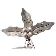 Sterling Silver Holly Leaves and Bells Pin