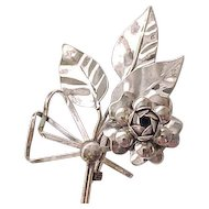 Eye Catching Sterling Pin with Leaves and Flower - 3 3/4 Inches