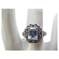 Sterling Ring Blue Stone Elaborate Setting - Size 7 1/4