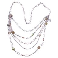 5 Strand Necklace - Copper and Sterling - Faux Pearls, Venetian Beads - Made in Italy
