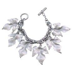 07 - Leaf Charm Bracelet - Hammered Aluminum - Mid Century