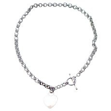 Sterling Rolo Chain Necklace with Heart Charm - Removeable