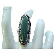 Gorgeous Sterling Silver and Malachite Ring - Size 5