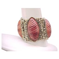 Impressive Wide Bracelet with Gorgeous Inserts - Shades of Rose