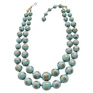 Superb Turquoise Trifari Gold Dust Necklace - 2 Strands