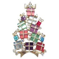 Spectacular Avon Christmas Tree Pin  Glass Packages
