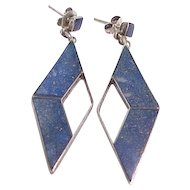 Beautiful Lapis and Sterling Earrings - Pierced Ears - MOD Design