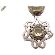 Sterling Necklace Double Pendant, Citrine Color Stones