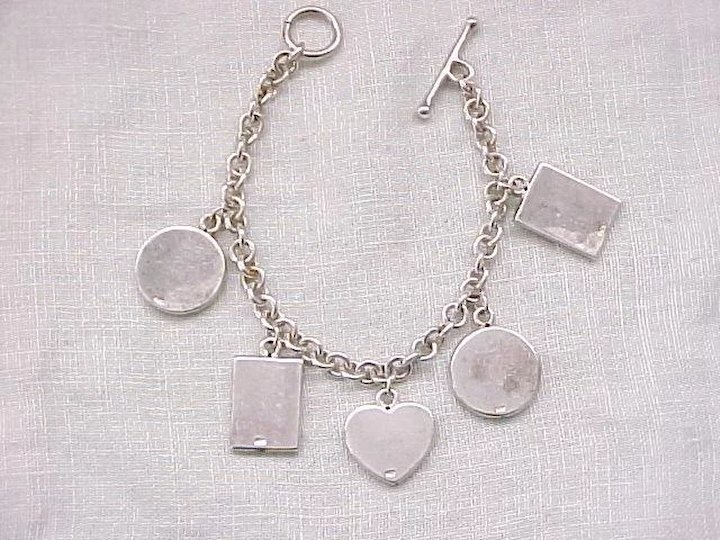 Sterling Silver Picture Frame Charm Bracelet 5 Charms