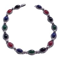 Fabulous Danecraft Necklace Sterling with Natural Stones