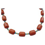 Big Butterscotch Bakelite Necklace - Barrel Beads