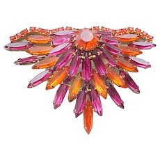 Spectacular Hot Pink and Orange Rhinestone Pin and Earrings