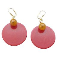 08 - Bakelite Earrings - Red Discs with Butterscotch Beads - Pierced Ears